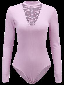 Long Sleeve Lace Up Choker Bodysuit - Light Purple S