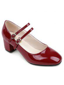 Double Buckle Straps Patent Leather Pumps - Wine Red 37