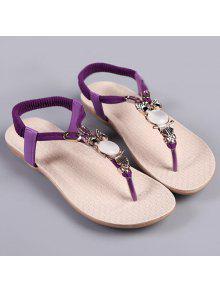 Sandales En Cuir élastique En Faux Cuir - Pourpre 37