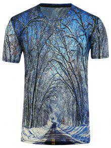 3D الأشجار قصيرة الأكمام تي شيرت - أزرق L