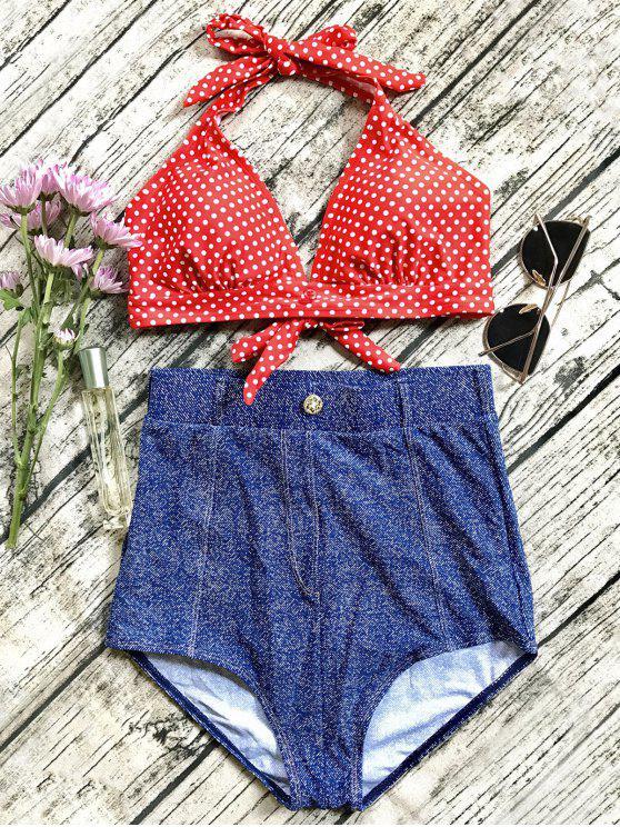 Bikini Vintage de Denim con Cintura Alta - Azul S