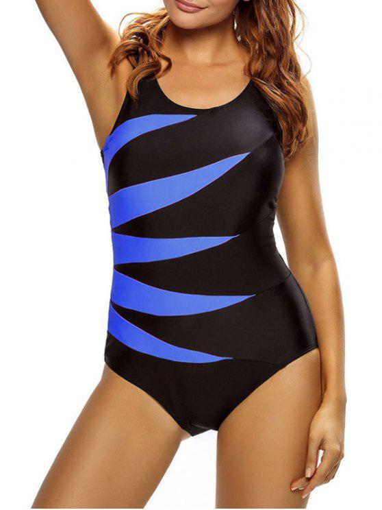 sale Lace Up Tummy Control Swimsuit - BLUE L