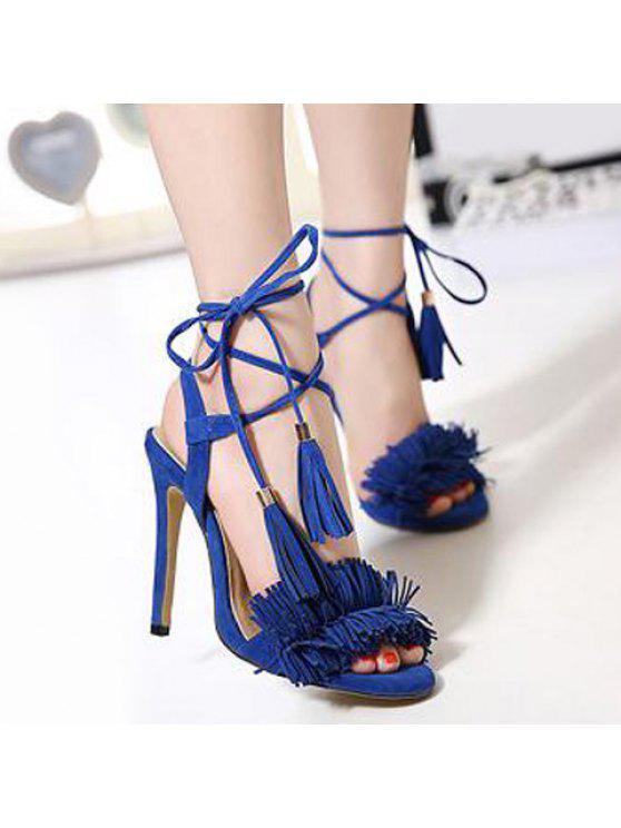 Sandales à talon aiguise - Bleu 38
