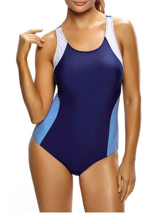 new Tricolor Slimming Swimsuit - PURPLE AND BLUE L