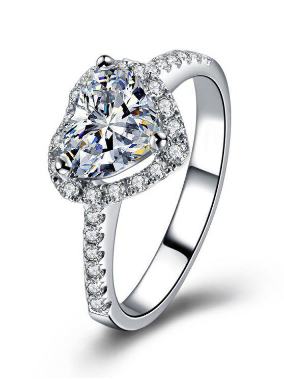 حجر الراين على شكل قلب خاتم الزواج - فضة 6