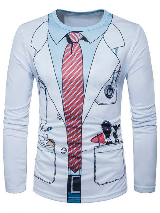 3d طبيب زي طباعة طويلة الأكمام تي شيرت - أبيض L