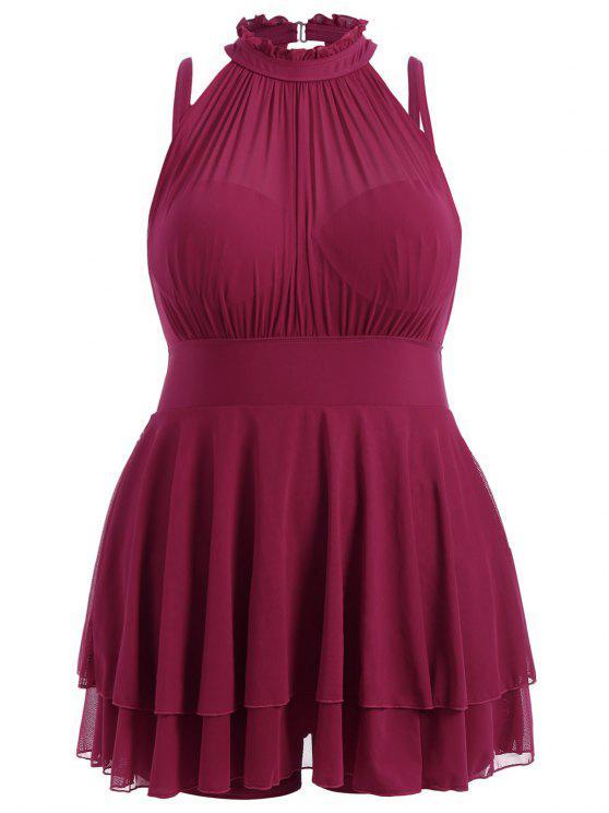 e949dd61cf9 Plus Size Sleeveless High Neck Chiffon Skirted Swimsuit - Deep Red 4xl