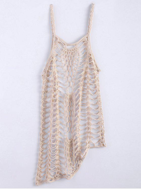 hot Asymmetric Crochet Cami Cover Up - OFF-WHITE M