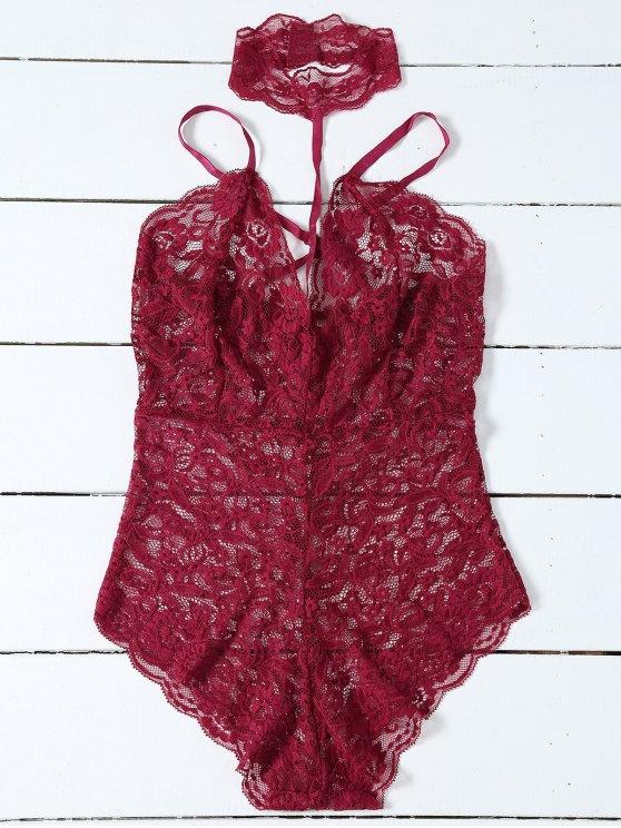 Escotado del peluche del cordón Gargantilla - Vino Rojo M