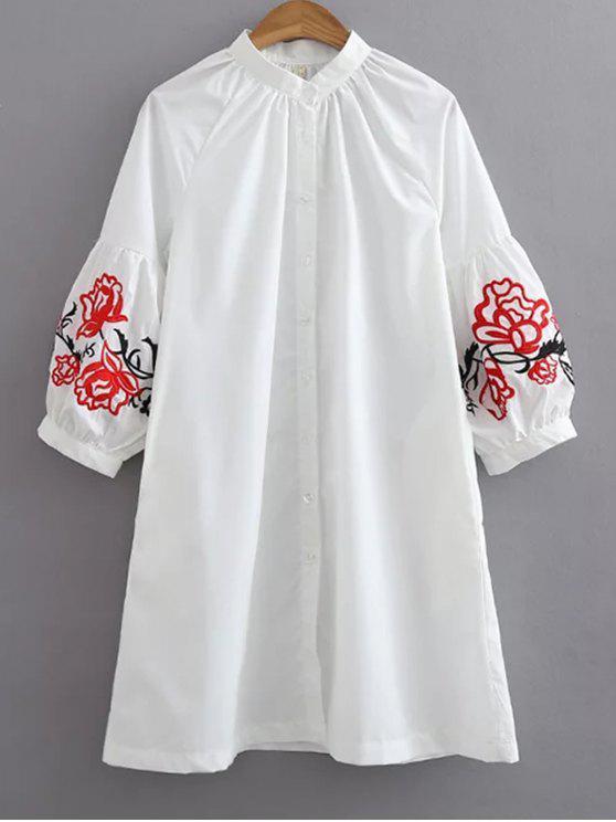 Chemise ample brodée - Blanc S
