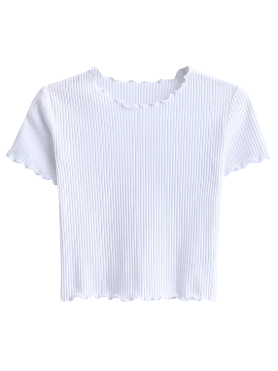 outfit Cropped Flounced T-Shirt - WHITE M
