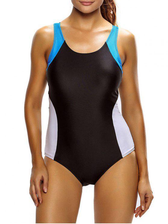الالوان الثلاثة التخسيس ملابس السباحة - أبيض وأسود XL
