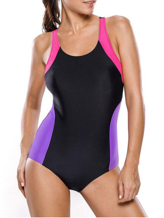 Tricolor adelgaza el traje de baño - Negro+Púrpura XL
