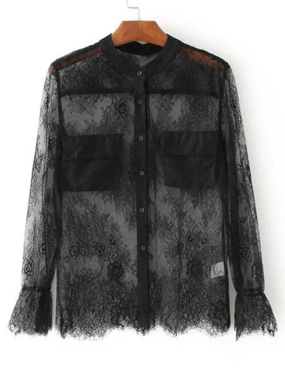 affordable See-Through Lace Blouse - BLACK M
