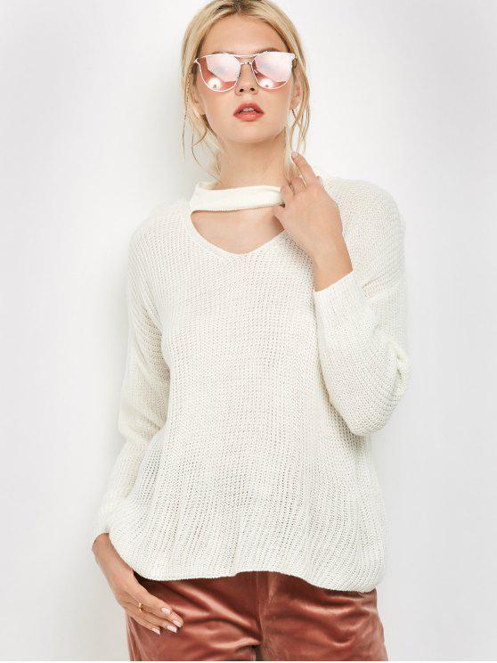Camiseta con Cuello de Gargantilla con Escote Pico Largo con Mangas Largas - Blanco S