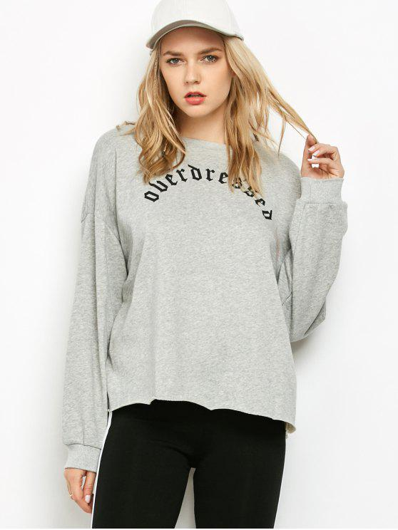 outfit Graphic Raw Edge Oversized Sweatshirt - GRAY M