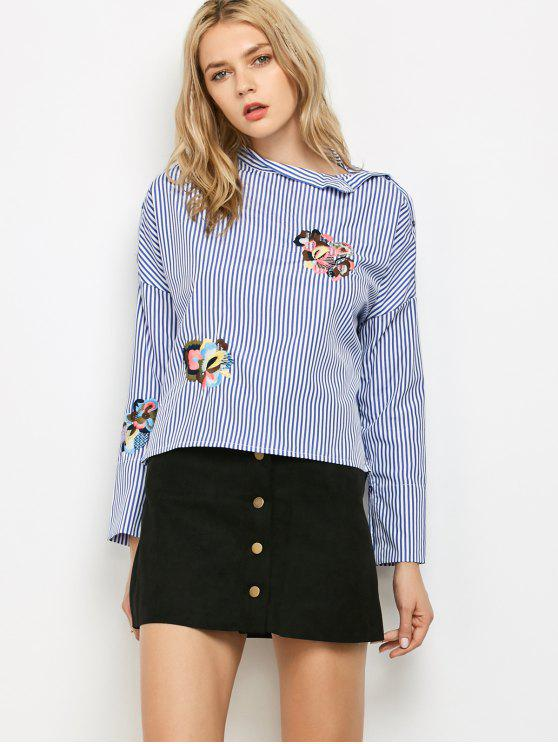chic Striped Stand Neck Embroidered Blouse - BLUE AND WHITE S