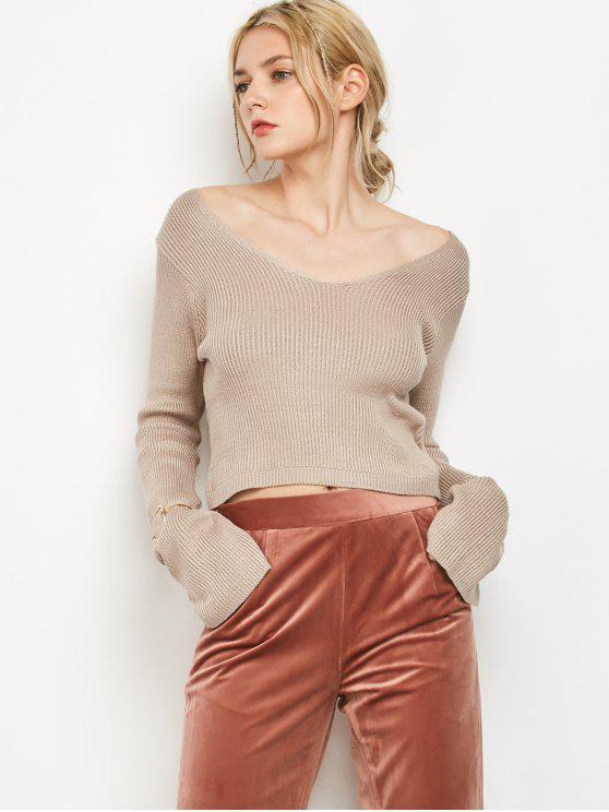 Pescoço V manga colhida Sweater - Cáqui Claro Um Tamanho