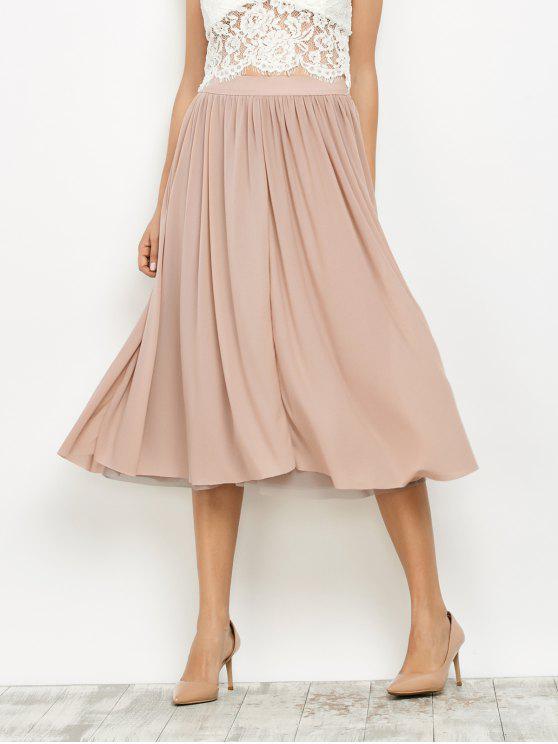 chic Mesh Layers Midi Skirt - LIGHT PINK S