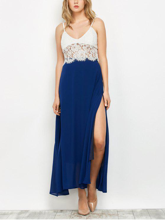 women High Slit Chiffon Maxi Skirt - DEEP BLUE S