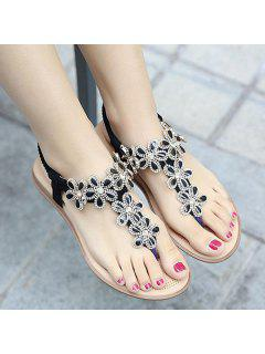 Rhinestones Flat Heel Sandals - Black 41