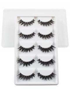 5 Pairs Dense Fake Eyelashes - White