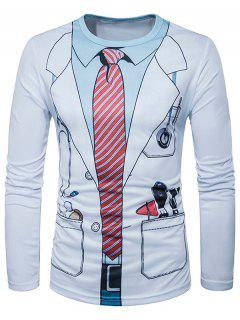 3D Doctor Costume Print Long Sleeve T-Shirt - White L