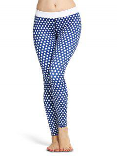 Polka Dot Skinny Yoga Leggings - Blue L