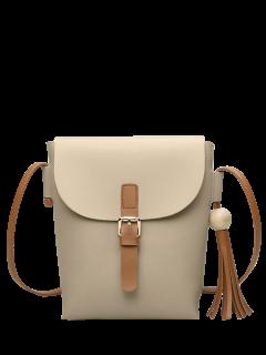 Buckle Strap Tassel Crossbody Bag - Apricot