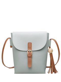Buckle Strap Tassel Crossbody Bag - Light Gray