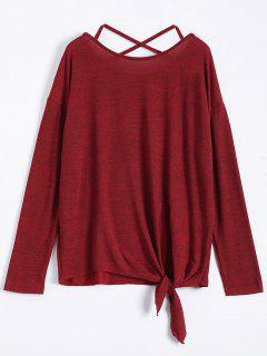 Criss Cross Knotted Hem Knitted T-Shirt - Wine Red