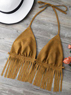 Faux Suede Tassels Bra - Brown L