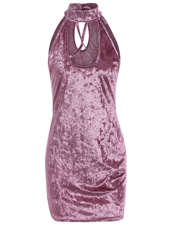 Crosscriss Velvet Bodycon Dress - Rose PÂle S