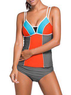 Color Block Tankini Swimsuit For Juniors - Gray + Orange S