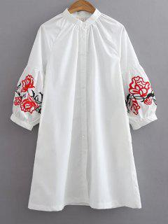 Holgada Camisa Bordada - Blanco S