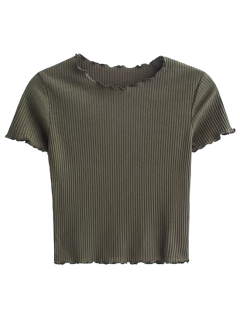 Cropped Flounced T-Shirt - Army Green S