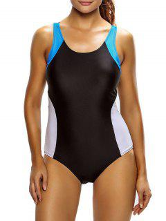 Tricolor Slimming Swimsuit - White And Black M