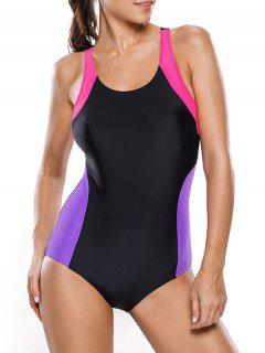 Tricolor Slimming Swimsuit - Black And Purple M