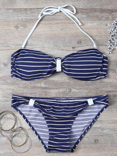 Cabestro Rayada Nudo Conjunto Del Bikini - Azul Purpúreo S
