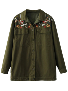 Button Up Embroidered Cargo Shirt - Army Green S