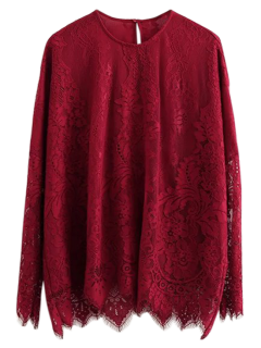 Scalloped Hem Lace T-Shirt - Burgundy M