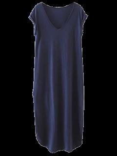 Vestido Casual Recto De Camiseta Con Abertura Lateral - Azul Marino  L
