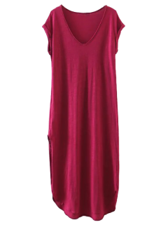 Casual Slit Straight T-Shirt Dress - Wine Red L