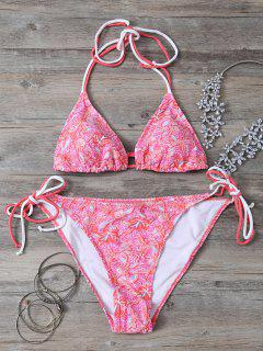 Halter Tie Side Printed Bikini Set - Papaya S