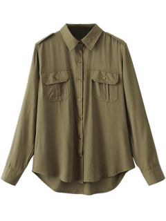 Button Up Curled Sleeve Cargo Shirt - Army Green M