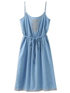 Belted Embroidered Denim Cami Dress - Light Blue S