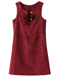 Lace Up Sleeveless Corduroy Dress - Dark Red M