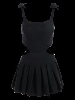 Bowknot Cut Out Skirted Swimwear - Black 2xl
