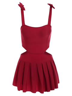 Bowknot Cut Out Skirted Swimwear - Red M