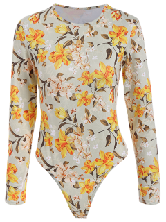 Flower Pattern Bodysuit - Floral S